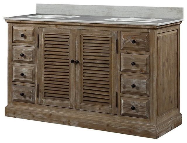 "Richmond Wooden Vanity With Louvered Doors, 60""."