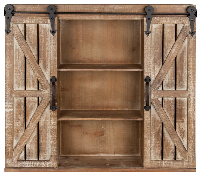 White Farmhouse Sliding Door Cabinet: Laurel Cates Rustic Wall Cabinet With Sliding Barn Doors