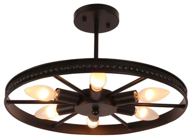 Vintage Black Metal Round Wheel Semi Flush Mount Ceiling Light.