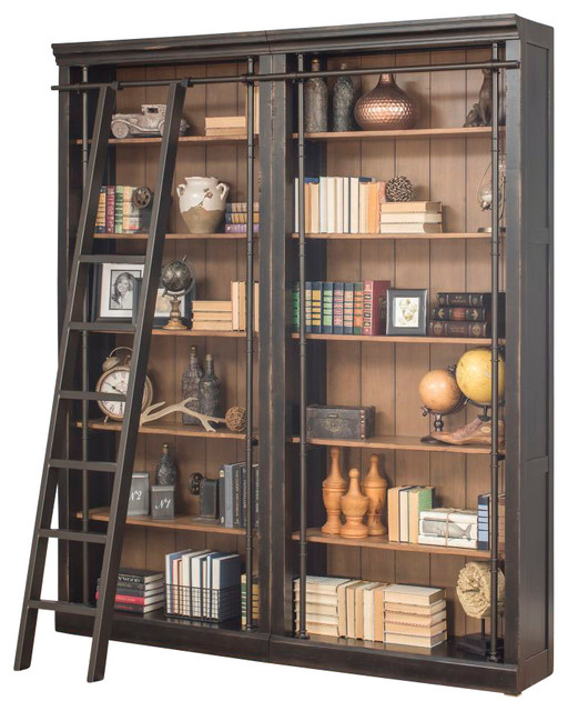 Toulouse 3 Piece Library Bookcase Wall Rustic Bookcases