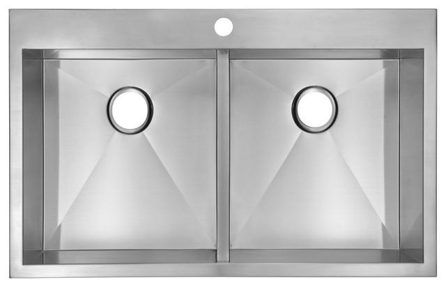 Zero Radius 50/50 Double Bowl Stainless Steel Hand Made Drop In Kitchen Sink.