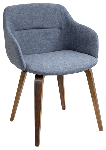 Perfect Campania Mid Century Modern Chair In Walnut Wood, Blue Fabric