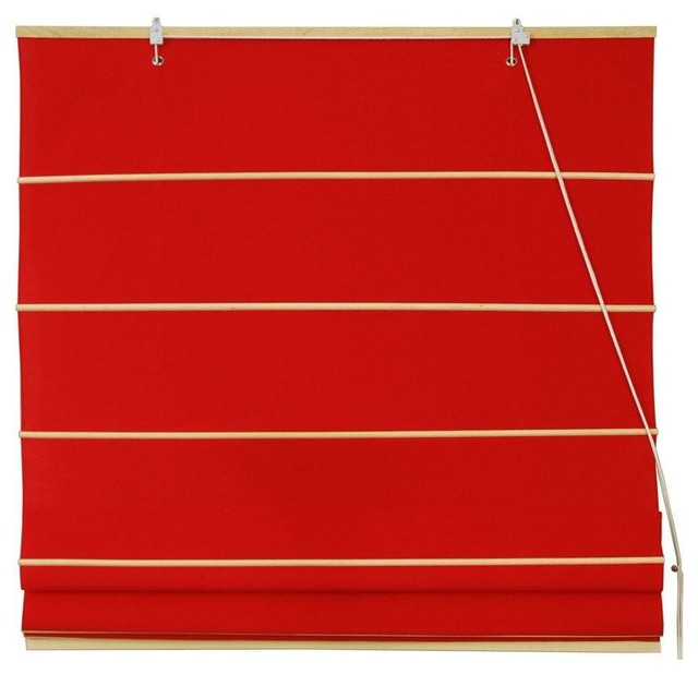 "Roman Cotton Shades, Red, 36"" Wide."