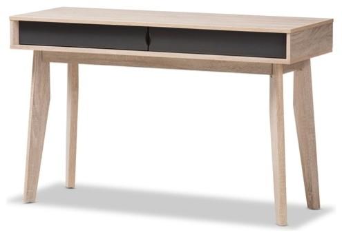 Mid-Century Modern 2-Drawer Oak And Gray Wood Study Desk.