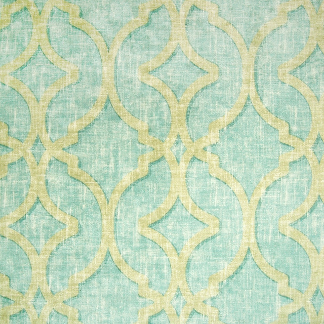 Aqua Blue Teal Geometric Medallion Lattice Print Velvet Suede Upholstery Fabric