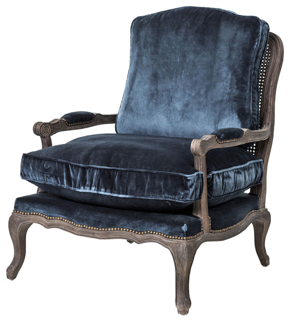 sasha velvet frenchstyle oak bergere armchair blue armchairs and accent chairs