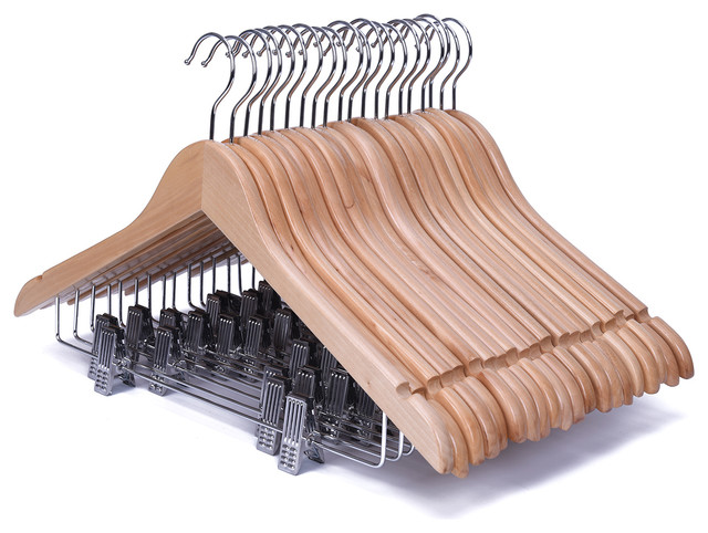 natural guger tree wood suit hangers with antirust clips set of 20
