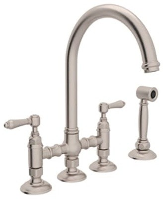 Rohl A1461LMWS-2 Country Kitchen Bridge Faucet, Satin Nickel