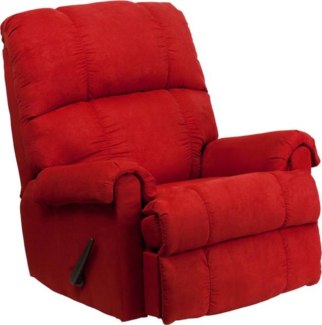 Remarkable Contemporary Flatsuede Red Rock Microfiber Rocker Recliner Uwap Interior Chair Design Uwaporg