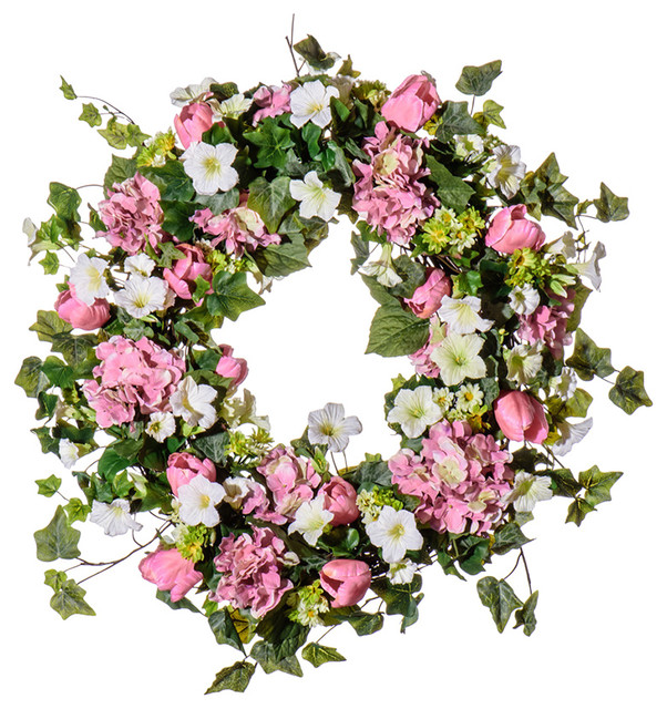 "Pink Hydrangea And Tulip Wreath Sw924, 30""."