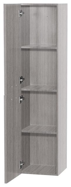 Bathroom Wall-Mounted Storage Cabinet, Gray Oak, 2-Door.