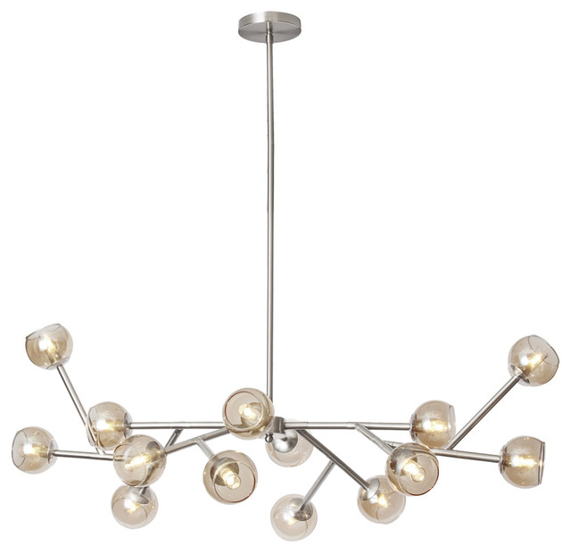 Tanglewood 14 light chandelier with clear glass balls midcentury tanglewood 14 light chandelier with clear glass balls satin chrome aloadofball Image collections