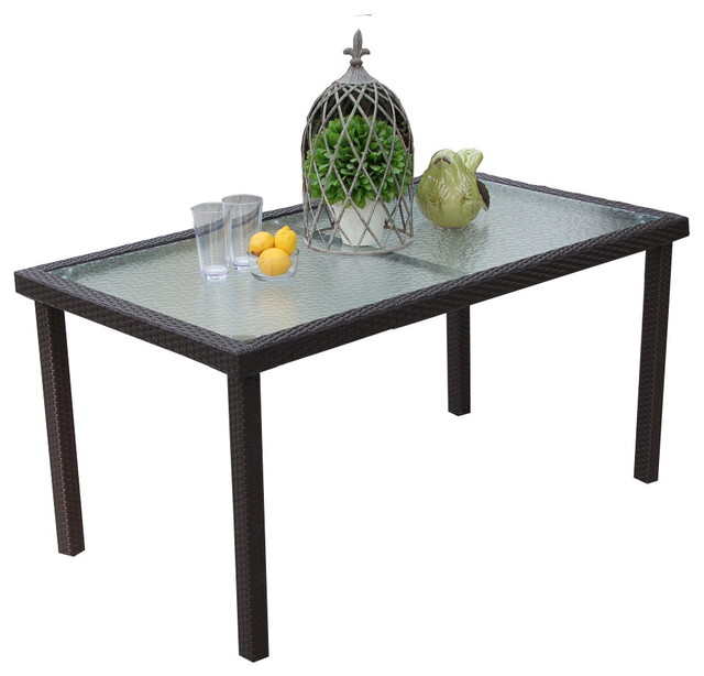 Outdoor Rectangular Brown Wicker Glass Top Dining Table.