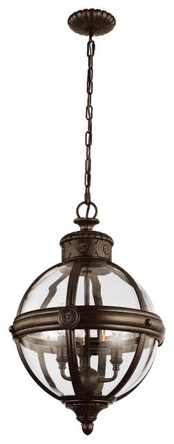 Sphere Glass Cage 3-Light Pendant Chandelier, British Bronze