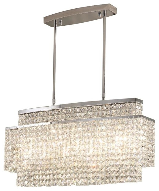 "Crystal Rectangle Chandelier, Length: 32"" Width: 10"" Height 16"""