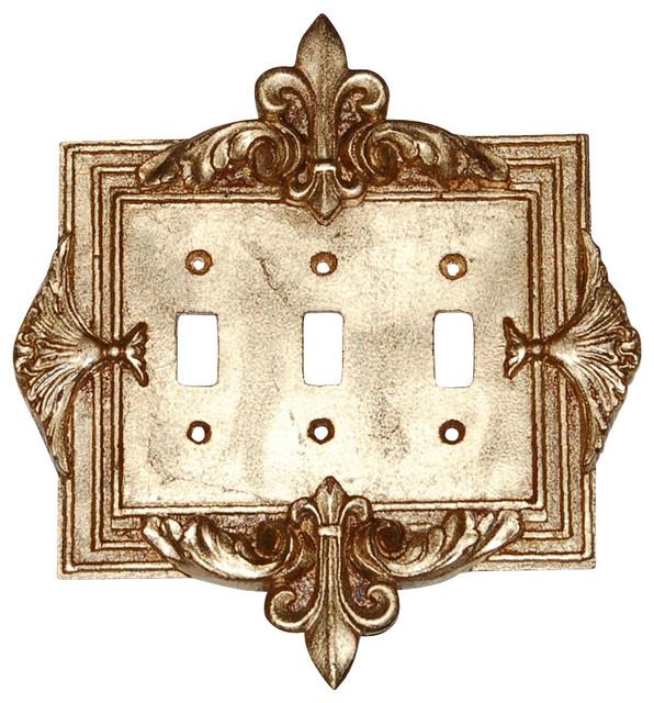 Fleur De Lis Triple Switch Plate In Antique G