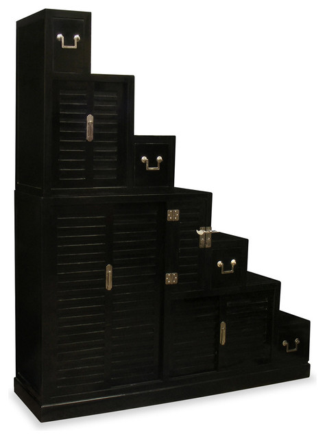 Elmwood Japanese Style Step Tansu - Asian - Accent Chests And Cabinets ...