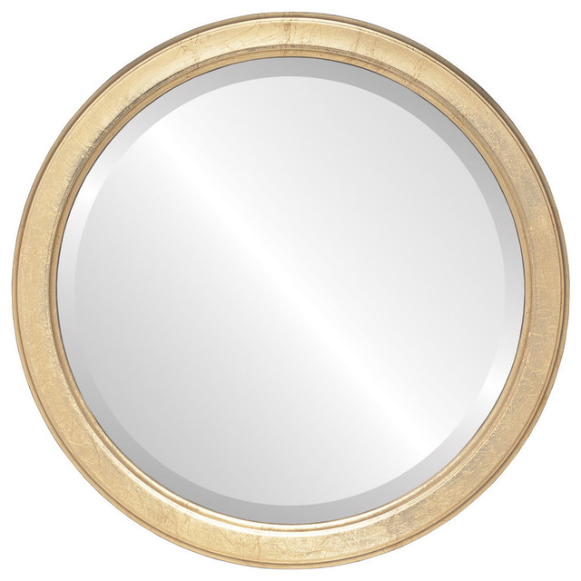 "Toronto Framed Round Mirror in Gold Leaf, 25""x25"""
