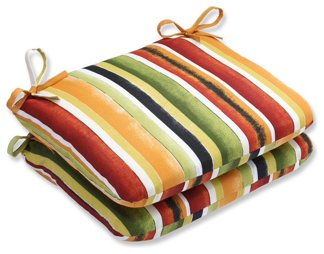 Pillow Perfect Dina Noir Rounded Corners Seat Cushions, Set of 2