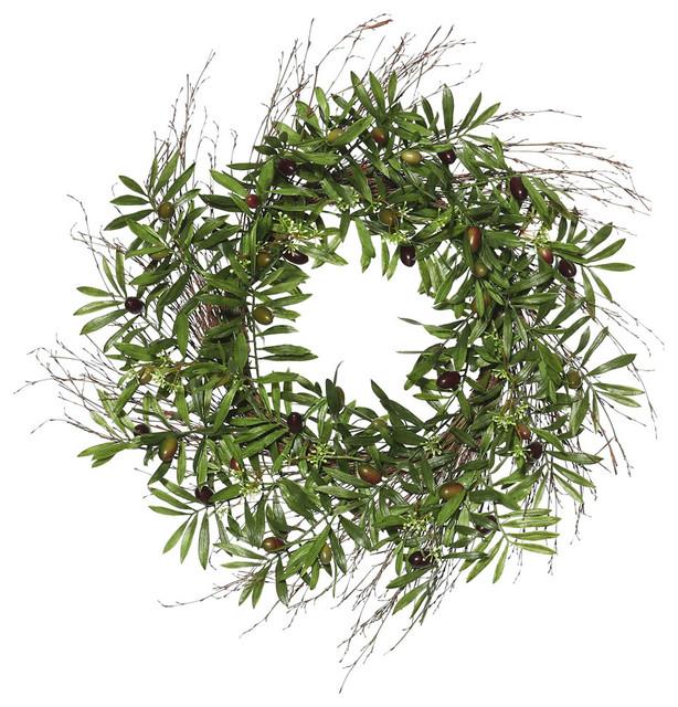 """24"""" Green Olive Leaf Wreath"""