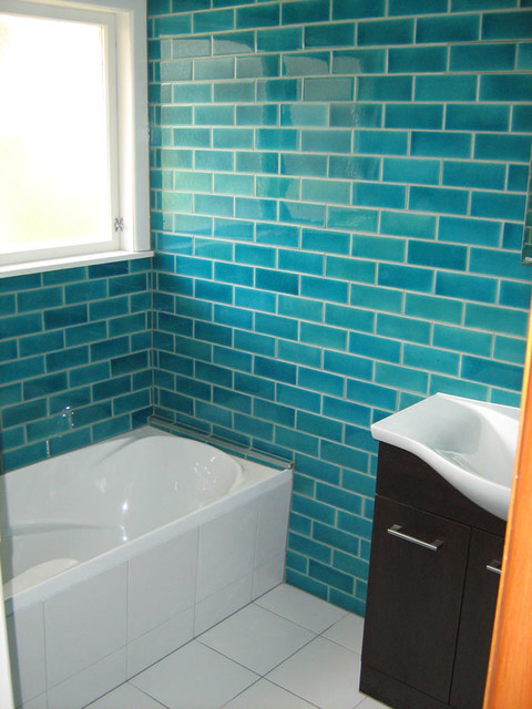 Crystal tile turquoise blue subway tiles - Turquoise bathroom floor tiles ...