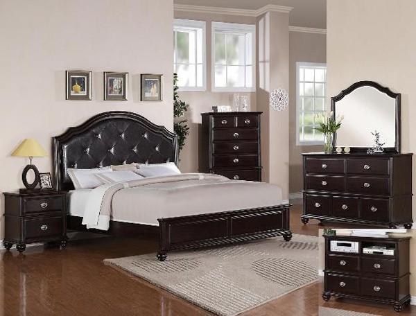 Crown Mark - 5-PC Transitional Espresso Finish Queen Bedroom Set - 59B8440-Q-S5