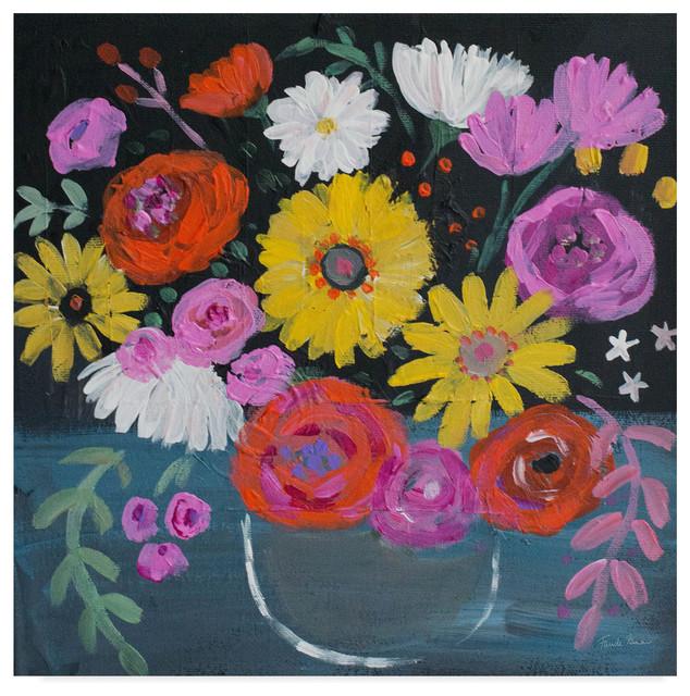 Floral Medley II Giclee Stretched Canvas Artwork 18 x 18 Global Gallery Farida Zaman