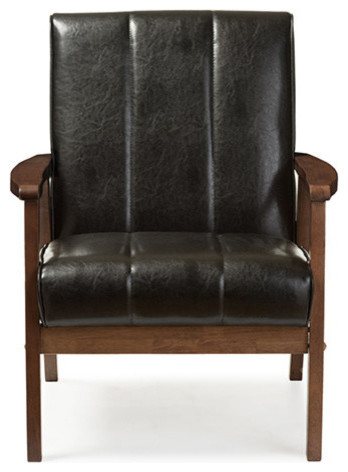 Nikko Faux Leather Wooden Lounge Chair - Midcentury - Armchairs And Accent Chairs - by Baxton Studio  sc 1 st  Houzz & Nikko Faux Leather Wooden Lounge Chair - Midcentury - Armchairs And ...