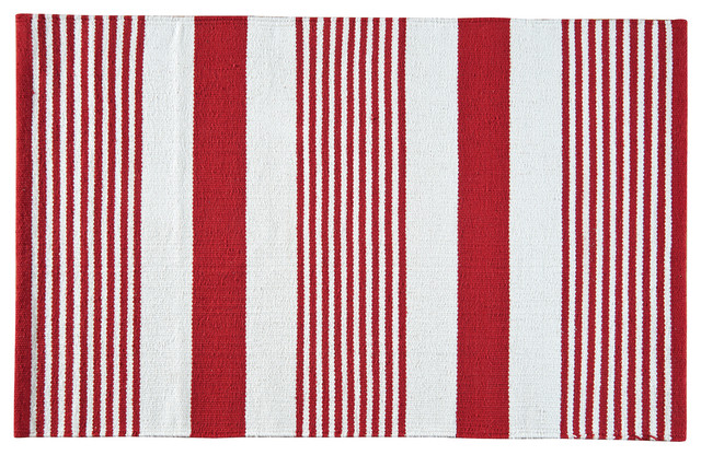Red & White Woven Rug.
