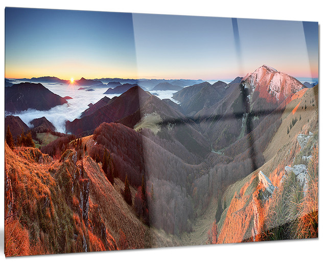 Metal Wall Art Mountain Landscapes : Red mountain sunset panorama landscape metal wall art