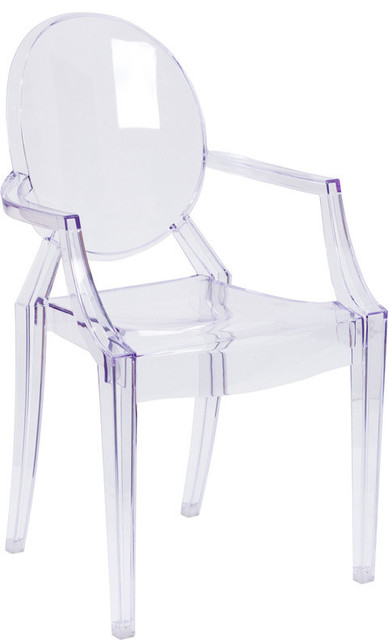 Ghost Chair With Arms, Transparent Crystal Contemporary Outdoor Dining  Chairs