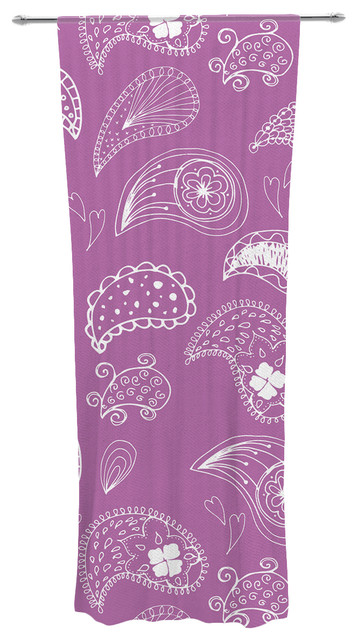 "Anneline Sophia ""tropical Paisley"" Purple White Decorative Sheer Curtain."