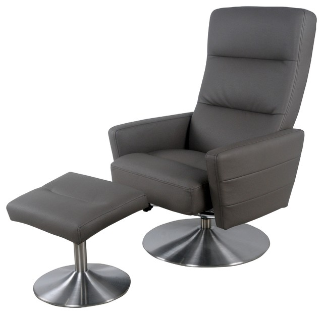 Alben Recliner Lounge Chair With Ottoman 2 Piece Set Gray Stone