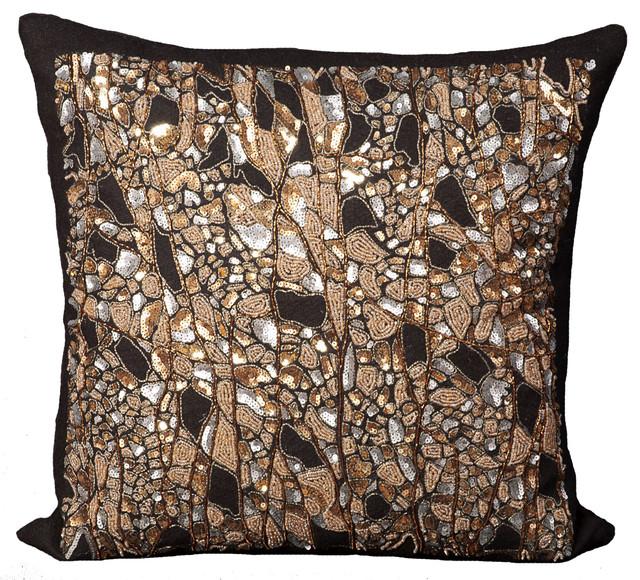 "Mina Victory Luminescence Beaded Branches Pillow, Black 20""x20"""