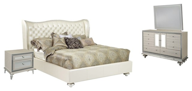 Exceptionnel AICO Hollywood Swank Upholstered Creamy Pearl Bedroom Set, King