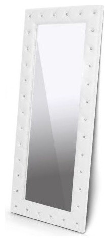 Stella Crystal Tufted White Modern Floor Mirror.