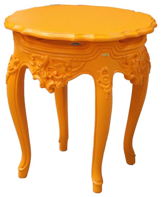 French Outdoor Side Table, Hi Lite Orange.