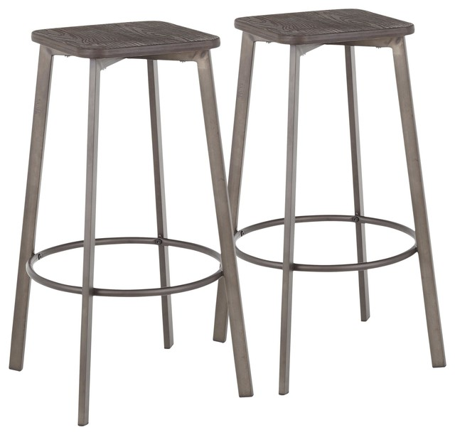 Tremendous Square Barstool In Antique Metal Espresso Wood Pressed Grain Bamboo Set Of 2 Machost Co Dining Chair Design Ideas Machostcouk