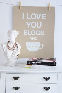 I Love You Blogs and Coffee Print Kraft  artwork