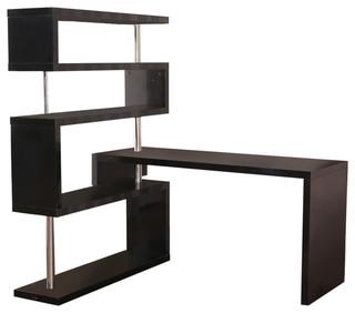 homcom rotating home office corner desk and shelf combo