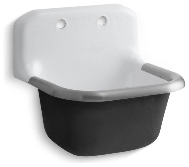 "Kohler Bannon Sink, Rim Guard, Back Drilled On 8"" Centers, 24""x20.25"", White."