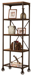 Sunset Trading Rustic Elm Industrial 4-Shelf Bookcase