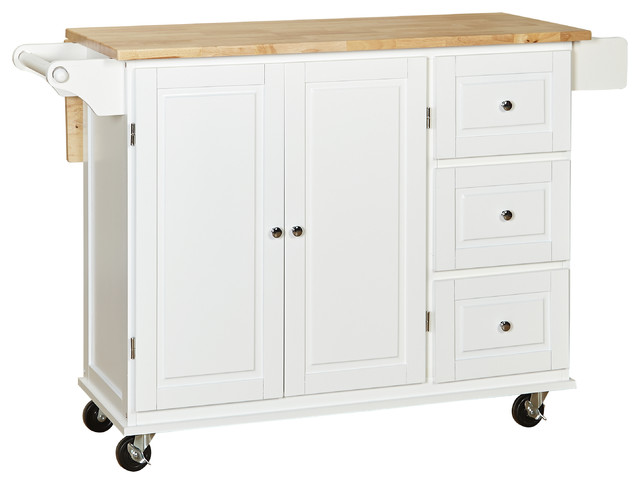 sundance kitchen cart with wood top - transitional - kitchen