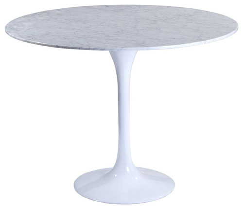 "Modway Lippa 36"" Marble Dining Table, White"