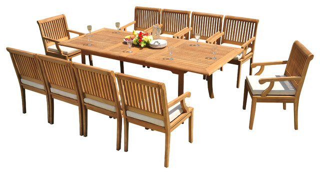 Fine 11 Piece Outdoor Patio Teak Dining Set 94 Rectangle Table 10 Sack Arm Chairs Home Interior And Landscaping Palasignezvosmurscom