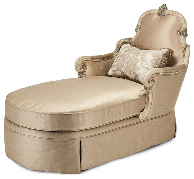 Aico Platine De Royale Wood Trim Chaise Grp1 Opt1, Champagne 09845-Chpgn-201.
