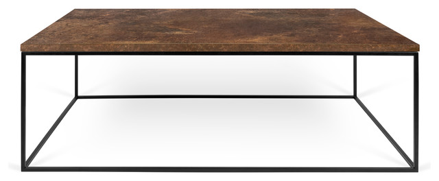"""Gleam 47""""x30"""" Coffee Table, Rusty Look, Black Lacquered Steel."""