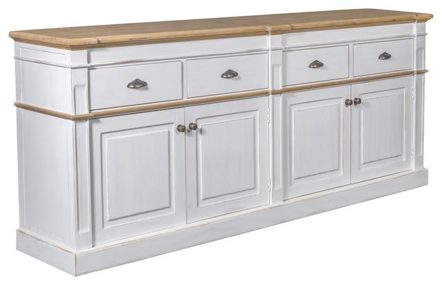 """Asbury Rustic Wood 90"""" 4 Door 4 Drawer Sideboard, White"""