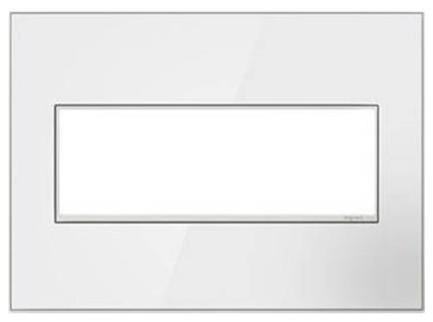 Legrand Adorne Mirror White 3 Gang Wall Plate White On White