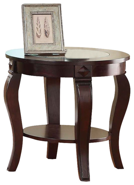 Delightful Walnut Wood Sturdy Round Center Glass Top Bottom Shelf Accent Side End Table  Traditional Side